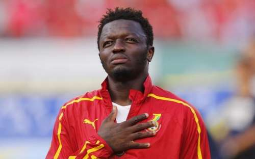 Ghana's Sulley Muntari listens to his country's national anthem before their international soccer friendly against South Korea at Sun Life stadium ahead of the 2014 World Cup in Miami, June 9, 2014. REUTERS/Wolfgang Rattay/File Photo