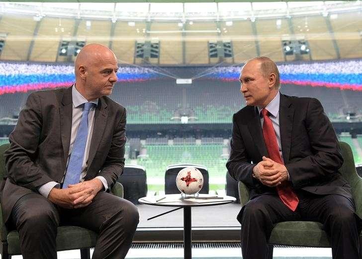Russian President Vladimir Putin meets with FIFA President Gianni Infantino at the FC Krasnodar Stadium in the southern city of Krasnodar, Russia, May 23, 2017. Sputnik/Aleksey Druzhinin/Kremlin via REUTERS