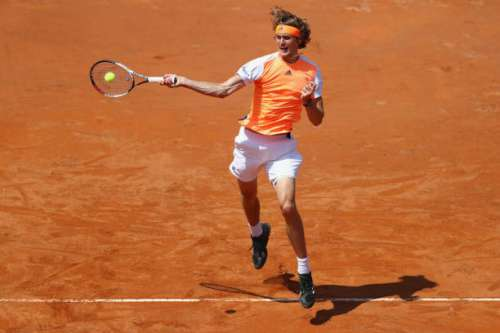 ROME, ITALY - MAY 19:  Alexander Zverev of Germany hits a forehand return during his quarter final match against Milos Raonic of Canada on Day Six of the Internazionali BNL d'Italia 2017 at Foro Italico on May 19, 2017 in Rome, Italy.  (Photo by Michael Steele/Getty Images)