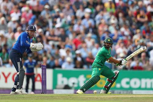 LEEDS, ENGLAND - SEPTEMBER 01:  Azhar Ali of Pakistan hits to the offside off the bowling of Adil Rashid as wicketkeeper Jonny Bairstow looks on during the 4th Royal London One -Day International match between England and Pakistan at Headingley on September 1, 2016 in Leeds, England.  (Photo by Michael Steele/Getty Images)