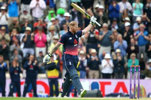 SOUTHAMPTON, ENGLAND - MAY 27: Ben Stokes of England celebrates his century on during the Royal London ODI match between England and South Africa at The Ageas Bowl on May 27, 2017 in Southampton, England. (Photo by Charlie Crowhurst/Getty Images)