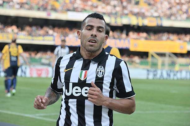 VERONA, ITALY - MAY 30:Carlos Tevez # 10 of Juventus FC looks on  during the Serie A match between Hellas Verona FC and Juventus FC at Stadio Marc