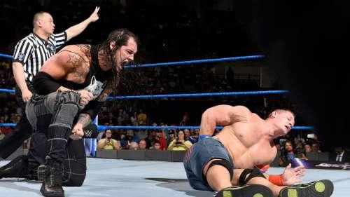 John Cena and Baron Corbin on SmackDownLive