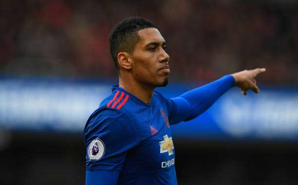 MIDDLESBROUGH, ENGLAND - MARCH 19:  Chris Smalling of Manchester United in action during the Premier League match between Middlesbrough and Manchester United at Riverside Stadium on March 19, 2017 in Middlesbrough, England.  (Photo by Stu Forster/Getty Images)