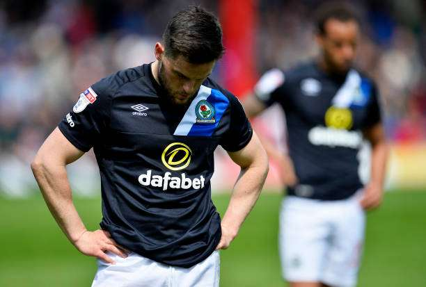 BRENTFORD, ENGLAND - MAY 07:  Craig Conway of Blackburn Rovers looks dejected after being relegated after the Sky Bet Championship match between Brentford and Blackburn Rovers at Griffin Park on May 7, 2017 in Brentford, England. (Photo by Justin Setterfield/Getty Images)