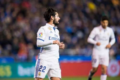 LA CORUNA, SPAIN - APRIL 26: Isco of Real Madrid celebrates after scoring his team's fifth goal during the La Liga match between RC Deportivo La Coruna and Real Madrid at Riazor Stadium on April 26, 2017 in La Coruna, Spain.  (Photo by Juan Manuel Serrano Arce/Getty Images)