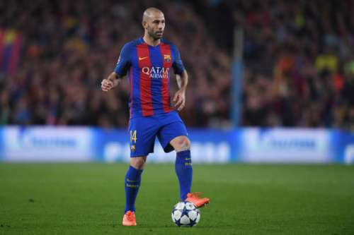 BARCELONA, SPAIN - MARCH 08:  Javier Mascherano of Barcelona in action during the UEFA Champions League Round of 16 second leg match between FC Barcelona and Paris Saint-Germain at Camp Nou on March 8, 2017 in Barcelona, Spain.  (Photo by Michael Regan/Getty Images)