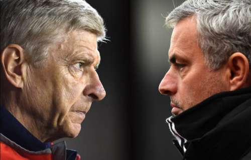 FILE PHOTO (EDITORS NOTE: COMPOSITE OF TWO IMAGES - Image numbers (L) 609115656 and 632284824) In this composite image a comparision has been made between Arsene Wenger, Manager of Arsenal (L) and  Jose Mourinho, Manager of Manchester United.  Arsenal and Manchester United meet in a Premier League match at the Emirates Stadium on May 7, 2017 in London,England.   ***LEFT IMAGE*** NOTTINGHAM, ENGLAND - SEPTEMBER 20: Arsene Wenger, Manager of Arsenal looks on during the EFL Cup Third Round match between Nottingham Forest and Arsenal at City Ground on September 20, 2016 in Nottingham, England. (Photo by Laurence Griffiths/Getty Images) ***RIGHT IMAGE*** STOKE ON TRENT, ENGLAND - JANUARY 21: Jose Mourinho, Manager of Manchester United looks on during the Premier League match between Stoke City and Manchester United at Bet365 Stadium on January 21, 2017 in Stoke on Trent, England. (Photo by Laurence Griffiths/Getty Images)