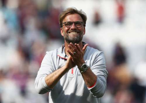 STRATFORD, ENGLAND - MAY 14: Jurgen Klopp, Manager of Liverpool shows appreciation to the fans after the Premier League match between West Ham United and Liverpool at London Stadium on May 14, 2017 in Stratford, England.  (Photo by Jan Kruger/Getty Images)