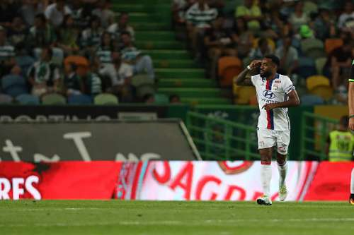 LISBON, PORTUGAL - JULY 23:  Lyon's forward Alexandre Lacazette celebrates scoring Lyons goal during the Friendly match between Sporting CP and Lyon at Estadio Jose Alvalade on July 23, 2016 in Lisbon, Portugal.  (Photo by Carlos Rodrigues/Getty Images)