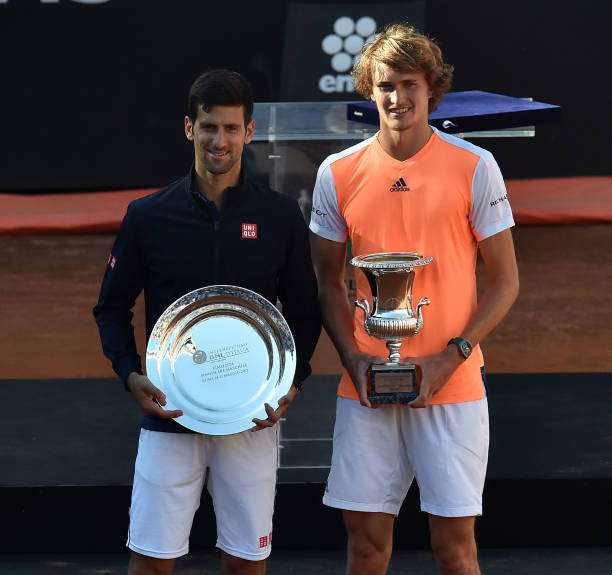 ROME, ITALY - MAY 21:  Novak Djokovic of Serbia and Alexander Zverev of Germany pose with the trophies after the ATP Singles Final match between Alexander Zverev of Germany and Novak Djokovic of Serbia during The Internazionali BNL d