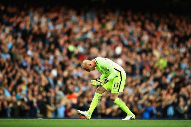 MANCHESTER, ENGLAND - MAY 16:  Willy Caballero of Manchester City celebrates a goal during the Premier League match between Manchester City and West Bromwich Albion at Etihad Stadium on May 16, 2017 in Manchester, England.  (Photo by Clive Mason/Getty Images)