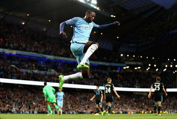 MANCHESTER, ENGLAND - MAY 16:  Yaya Toure of Manchester City celebrates scoring his sides third goal during the Premier League match between Manchester City and West Bromwich Albion at Etihad Stadium on May 16, 2017 in Manchester, England. (Photo by Clive Mason/Getty Images)