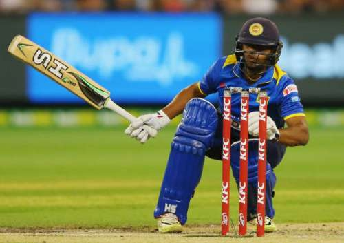 MELBOURNE, AUSTRALIA - FEBRUARY 17:  Adela Gunaratne of Sri Lankareacts after being hit in the groin by a delivery during the first International Twenty20 match between Australia and Sri Lanka at Melbourne Cricket Ground on February 17, 2017 in Melbourne, Australia.  (Photo by Michael Dodge/Getty Images)