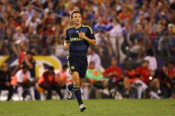 BALTIMORE - JULY 24: Andriy Shevchenko #7 of Chelsea FC runs onto the field against AC Milan at M & T Bank Stadium on July 24, 2009 in Baltimore, Maryland. (Photo by Ned Dishman/Getty Images)