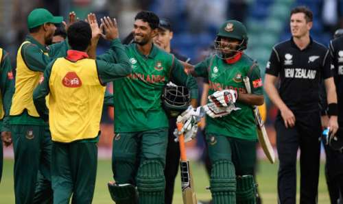 CARDIFF, WALES - JUNE 09:  Bangladesh batsman Mohammad Mahmudullah celebrates with team mates after hitting the winning runs during the ICC Champions Trophy match between New Zealand and Bangladesh at SWALEC Stadium on June 9, 2017 in Cardiff, Wales.  (Photo by Stu Forster/Getty Images)