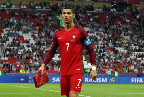 KAZAN, RUSSIA - JUNE 28:  Cristiano Ronaldo of Portugal is seen after exchanging a pennant prior to the FIFA Confederations Cup Russia 2017 Semi-Final between Portugal and Chile at Kazan Arena on June 28, 2017 in Kazan, Russia.  (Photo by Ian Walton/Getty Images)