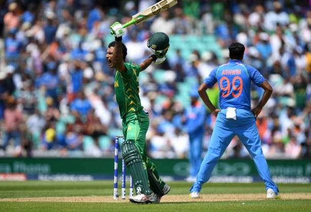 LONDON, ENGLAND - JUNE 18:  Fakhar Zaman of Pakistan celebrates reaching his century during the ICC Champions Trophy Final between India and Pakistan at The Kia Oval on June 18, 2017 in London, England.  (Photo by Gareth Copley/Getty Images)