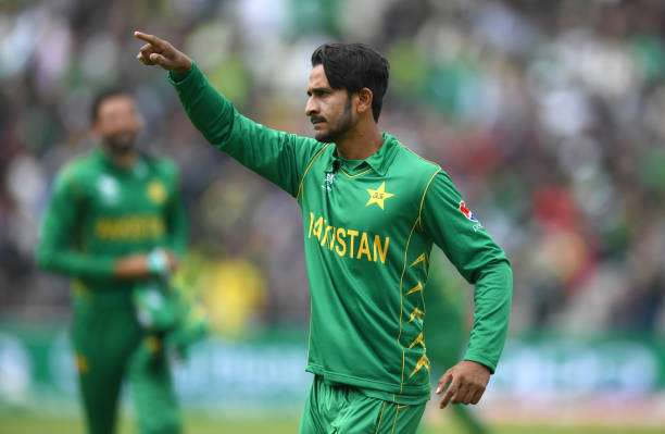BIRMINGHAM, ENGLAND - JUNE 07:  Hasan Ali of Pakistan celebrates catching out  Kagiso Rabada of South Africa during the ICC Champions Trophy match between Pakistan and South Africa at Edgbaston on June 7, 2017 in Birmingham, England.  (Photo by Gareth Copley/Getty Images)