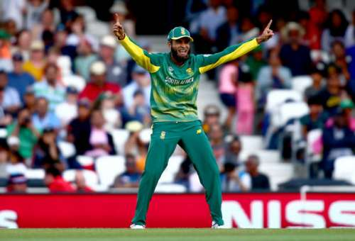 LONDON, ENGLAND - JUNE 03:  Imran Tahir of South Africa celebrates throwing to run out Suranga Lakmal of Sri Lanka during the ICC Champions Trophy match between Sri Lanka and South Africa at The Kia Oval on June 3, 2017 in London, England.  (Photo by Jordan Mansfield/Getty Images)