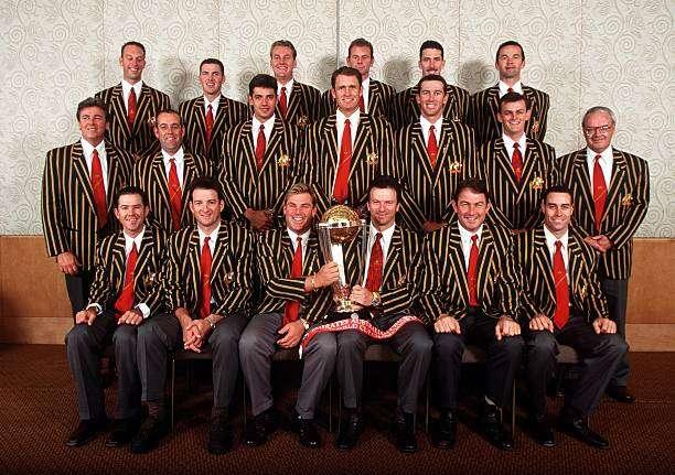 23 Jun 1999:  The Australian cricket team pose for the official Australian Cricket Board World Cup team picture at the Crown Casino,Melbourne, Australia.  Mandatory Credit: Hamish Blair/ALLSPORT