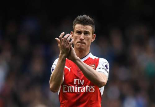 LONDON, ENGLAND - APRIL 30: Laurent Koscielny of Arsenal shows appreciation to the fans after the Premier League match between Tottenham Hotspur and Arsenal at White Hart Lane on April 30, 2017 in London, England.  (Photo by Shaun Botterill/Getty Images)