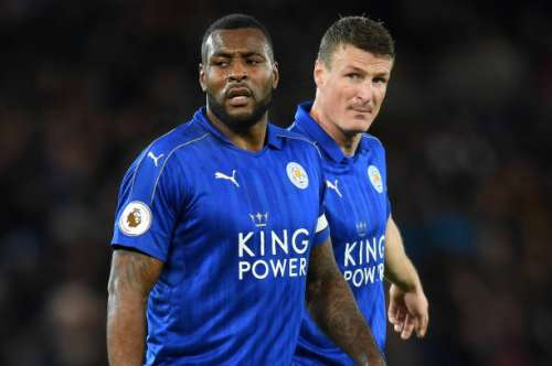 LEICESTER, ENGLAND - FEBRUARY 27:  Leicester City's two central defenders Wes Morgan of Leicester City and Robert Huth of Leicester City look on during the Premier League match between Leicester City and Liverpool at The King Power Stadium on February 27, 2017 in Leicester, England.  (Photo by Michael Regan/Getty Images)