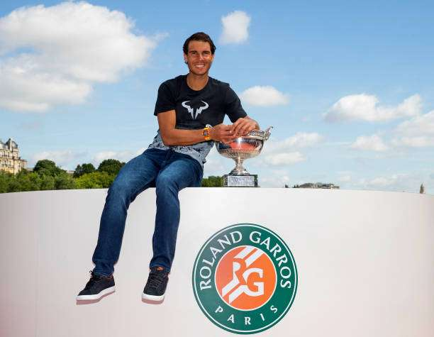 PARIS, FRANCE - JUNE 12:  Rafael Nadal of Spain poses during a photocall to celebrate his record breaking 10th French Open title at Quai de Grenelle on June 12, 2017 in Paris, France.  (Photo by Julian Finney/Getty Images)
