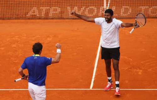 MONTE-CARLO, MONACO - APRIL 23:  Rohan Bopanna of India and Pablo Cuevas of Uruguay celebrate match point against Feliciano Lopez and Marc Lopez of Spain in the doubles final on day eight of the Monte Carlo Rolex Masters at Monte-Carlo Sporting Club on April 23, 2017 in Monte-Carlo, Monaco.  (Photo by Clive Brunskill/Getty Images)