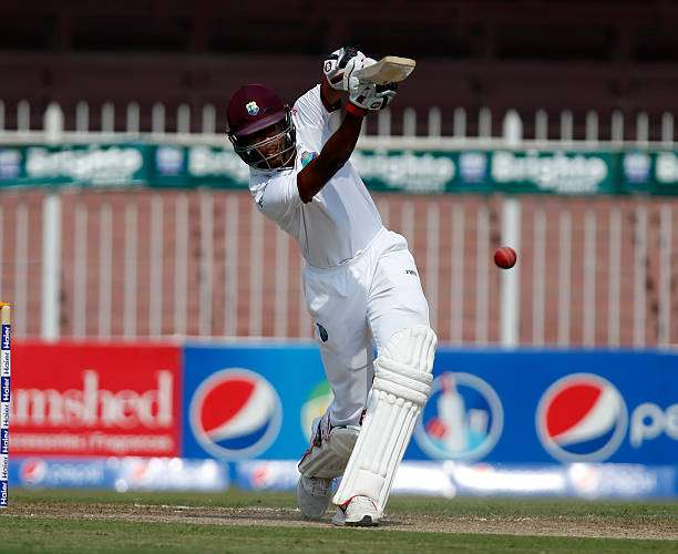 SHARJAH, UNITED ARAB EMIRATES - OCTOBER 31: Roston Chase of West Indies bats on day two of the third test between Pakistan and West Indies at Sharjah Cricket Stadium on October 31, 2016 in Sharjah, United Arab Emirates.  (Photo by Chris Whiteoak/Getty Images)