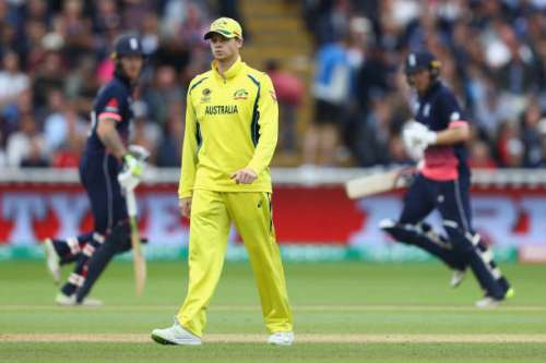 BIRMINGHAM, ENGLAND - JUNE 10: Steve Smith the captain of Australia looks on as Eoin Morgan and Ben Stokes continue their fourth wicket partnership during the ICC Champions Trophy match between England and Australia at Edgbaston on June 10, 2017 in Birmingham, England.  (Photo by Michael Steele/Getty Images)