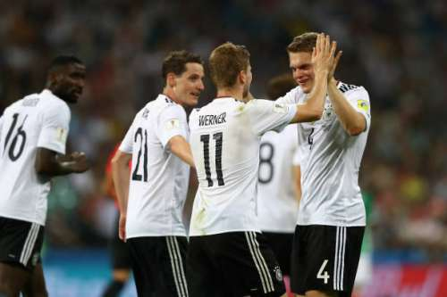 SOCHI, RUSSIA - JUNE 29:  Timo Werner (2nd R) of Germany celebrates scoring his side's third goal with his team mates during the FIFA Confederations Cup Russia 2017 Semi-Final between Germany and Mexico at Fisht Olympic Stadium on June 29, 2017 in Sochi, Russia.  (Photo by Dean Mouhtaropoulos/Getty Images)