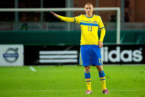 HALMSTAD,SWEDEN - OCTOBER 14:   Victor Lindelof  of Sweden in action during the UEFA Under-21 Championship qualifying match between Sweden and France in Orjans Vall Stadium on October 14, 2014 in Halmstad, Sweden.  (Photo by Ludvig Thunman/EuroFootball/Getty Images)