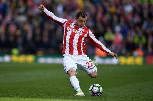 STOKE ON TRENT, ENGLAND - MAY 13:  Xherdan Shaqiri of Stoke City during the Premier League match between Stoke City and Arsenal at Bet365 Stadium on May 13, 2017 in Stoke on Trent, England.  (Photo by Gareth Copley/Getty Images)