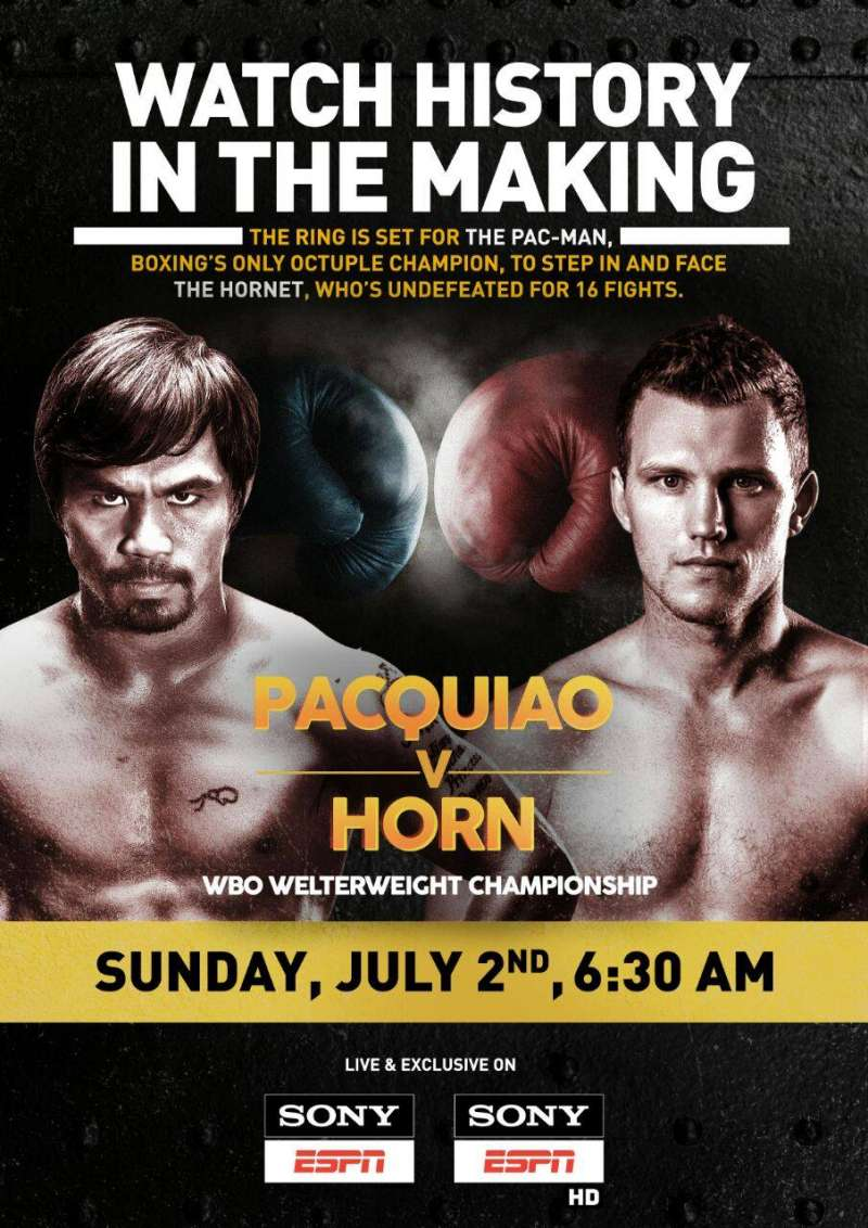 MANNY PACQUIAO /& JEFF HORN FIGHT OFFICIAL POSTER PHOTO SUNCORP STADIUM BRISBANE