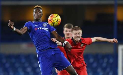 Football Soccer - Chelsea v Blackburn Rovers - FA Youth Cup Semi Final Second Leg - Stamford Bridge - 8/4/16 Chelsea's Tammy Abraham and Blackburn's Scott Wharton in action Mandatory Credit: Action Images / Tony O'Brien Livepic/Files