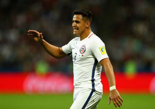 KAZAN, RUSSIA - JUNE 28:  Alexis Sanchez of Chile reacts during the FIFA Confederations Cup Russia 2017 Semi-Final between Portugal and Chile at Kazan Arena on June 28, 2017 in Kazan, Russia.  (Photo by Ian Walton/Getty Images)