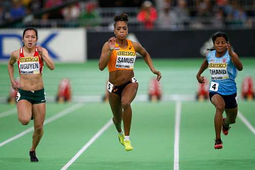 PORTLAND, OR - MARCH 19:  (L-R) Anasztzia Nguyen of Hungary, Jamile Samuel of the Netherlands and Dutee Chand of India compete in the Women's 60 Metres Heats during day three of the IAAF World Indoor Championships at Oregon Convention Center on March 19, 2016 in Portland, Oregon.  (Photo by Christian Petersen/Getty Images for IAAF)