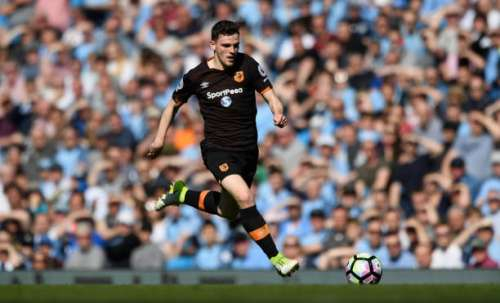 MANCHESTER, ENGLAND - APRIL 08:  Andrew Robertson of Hull in action during the Premier League match between Manchester City and Hull City at Etihad Stadium on April 8, 2017 in Manchester, England.  (Photo by Stu Forster/Getty Images)