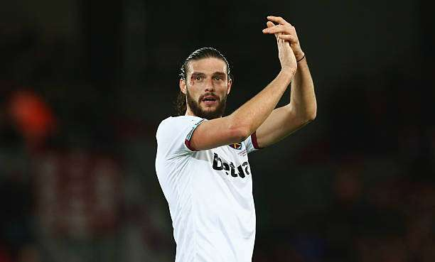 LIVERPOOL, ENGLAND - DECEMBER 11: Andy Carroll of West Ham United applauds the supporters  after the 2-2 draw in the Premier League match between Liverpool and West Ham United at Anfield on December 11, 2016 in Liverpool, England.  (Photo by Jan Kruger/Getty Images)