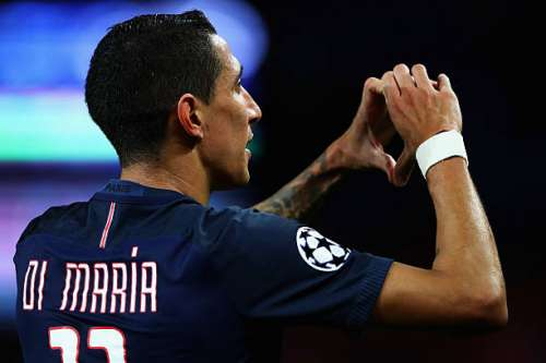 PARIS, FRANCE - OCTOBER 19:  Angel Di Maria of PSG celebrates scoring his teams first goal of the game during the Group A, UEFA Champions League match between Paris Saint-Germain Football Club and Fussball Club Basel 1893 at Parc des Princes on October 19, 2016 in Paris, France.  (Photo by Dean Mouhtaropoulos/Getty Images)