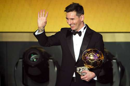 ZURICH, SWITZERLAND - JANUARY 11: FIFA Ballon d'Or winner Lionel Messi of Argentina and FC Barcelona gestures after the FIFA Ballon d'Or Gala 2015 at the Kongresshaus on January 11, 2016 in Zurich, Switzerland. (Photo by Philipp Schmidli/Getty Images)