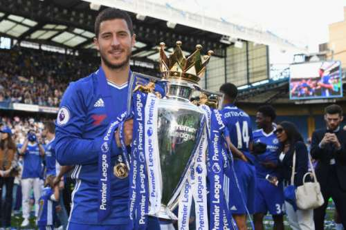 LONDON, ENGLAND - MAY 21:  Eden Hazard of Chelsea poses with the Premier League trophy after the Premier League match between Chelsea and Sunderland at Stamford Bridge on May 21, 2017 in London, England.  (Photo by Michael Regan/Getty Images)