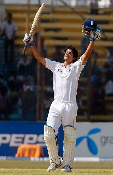 CHITTAGONG, BANGLADESH - MARCH 12:  England captain Alastair Cook celebrates after reaching his century during day one of the 1st Test match between Bangladesh and England at Jahur Ahmed Chowdhury Stadium on March 12, 2010 in Chittagong, Bangladesh.  (Photo by Stu Forster/Getty Images)