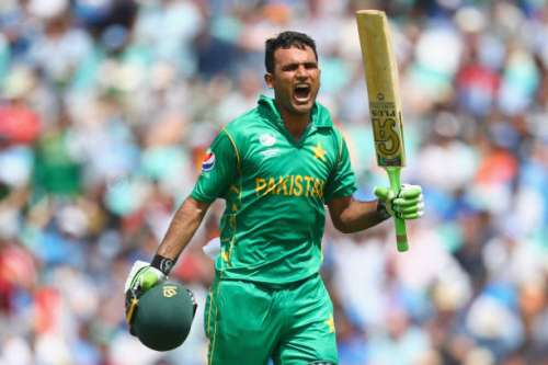 LONDON, ENGLAND - JUNE 18:  Fakhar Zaman of Pakistan celebrates his century during the ICC Champions trophy cricket match between India and Pakistan at The Oval in London on June 18, 2017  (Photo by Clive Rose/Getty Images)