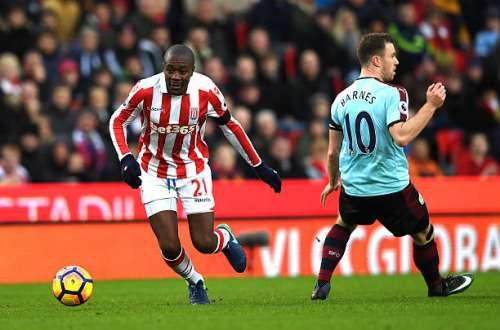 STOKE ON TRENT, ENGLAND - DECEMBER 03:  Gianelli Imbula of Stoke City evades Ashley Barnes of Burnley during the Premier League match between Stoke City and Burnley at Bet365 Stadium on December 3, 2016 in Stoke on Trent, England.  (Photo by Gareth Copley/Getty Images)