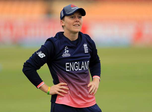 LEICESTER, ENGLAND - JUNE 27:  Heather Knight of England looks on before the Women