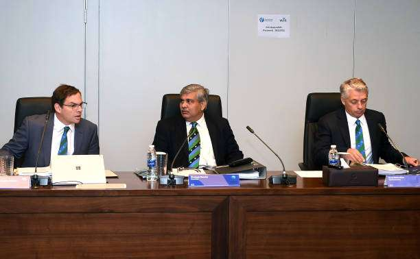 DUBAI, UNITED ARAB EMIRATES - FEBRUARY 04:  L-R: Iain Higgins, ICC Cheif Operating Officer and Company Secretary, Shashank Manohar, ICC Chairman and David Richardson, ICC Chief Executive attend ICC Board Meeting on February 4, 2017 in Dubai, United Arab Emirates.  (Photo by Tom Dulat/Getty Images)