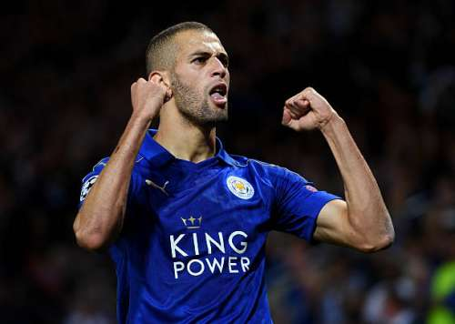 LEICESTER, ENGLAND - SEPTEMBER 27:  Islam Slimani of Leicester City celebrates as he scores their first goal during the UEFA Champions League Group G match between Leicester City FC and FC Porto at The King Power Stadium on September 27, 2016 in Leicester, England.  (Photo by Shaun Botterill/Getty Images)