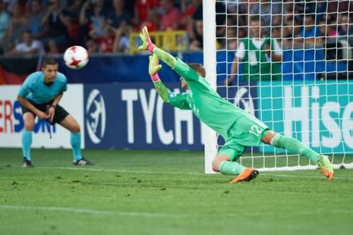TYCHY, POLAND - JUNE 27:  Jannik Pollersbeck of Germany saves England's fifth penalty during the UEFA European Under-21 Championship Semi Final match between England and Germany at Tychy Stadium on June 27, 2017 in Tychy, Poland.  (Photo by Lukasz Szelag/Getty Images)